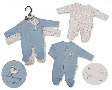 Premature Baby Sleepsuit 2-Pack - Whale  -