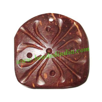Handmade coconut shell wood pendants, size : 25x3mm - Handmade coconut shell wood pendants, size : 25x3mm