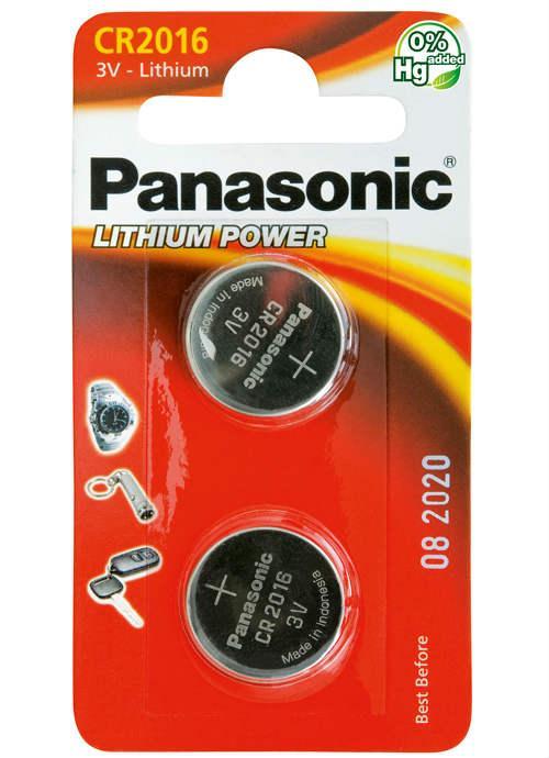 Batterie al litio a bottone CR2016 - CR-2016L/2BP | Blister da 2 microbatterie specialistiche Panasonic
