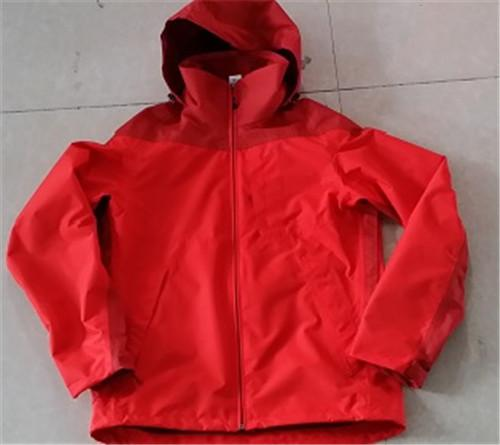 Women's red raincoat with hood