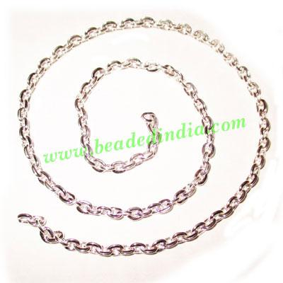Silver Plated Metal Chain, size: 1x4mm, approx 42.7 meters i - Silver Plated Metal Chain, size: 1x4mm, approx 42.7 meters in a Kg.