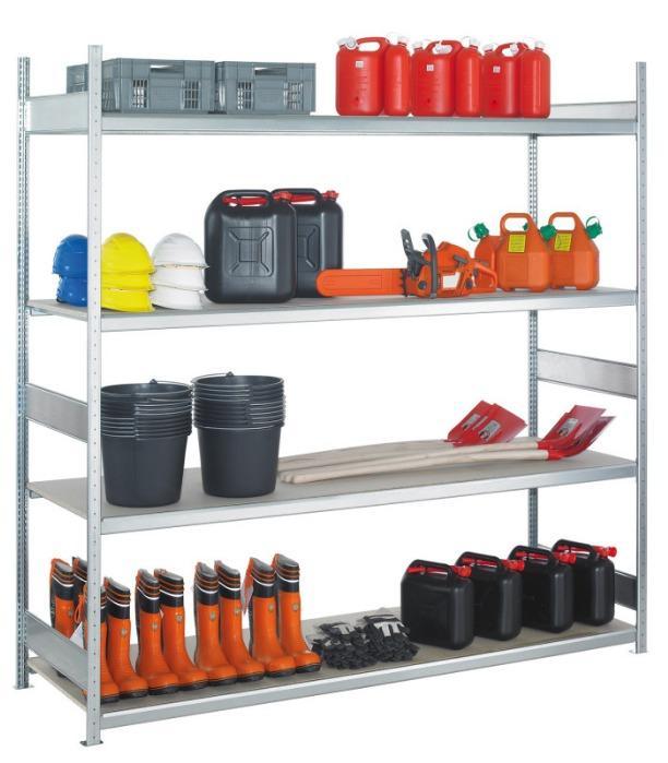 Wide span shelf unit WS 2000, heavy duty shelf - WS 2000 wide-span shelving, 2500x2500x600 mm, galvanised, 4 shelves