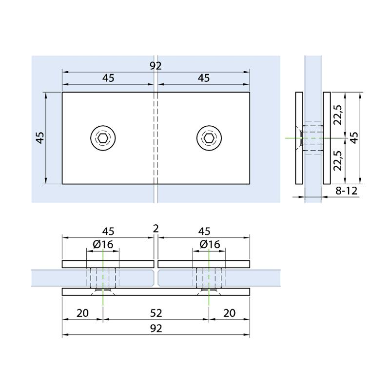 Connector glass-glass 180° - Connectors