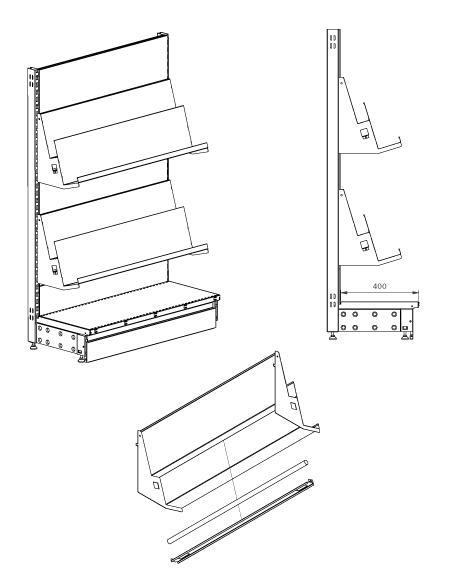 Modular shop rack systems & instore interior shelving design - Stepped shelf with lighting