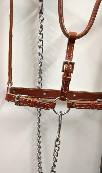 Western horse halter with Leads in Chesnut colour - western style plated halter setwith Lead