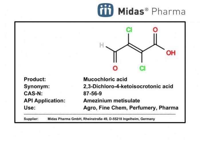 Ácido Mucoclórico - Ácido 2,3-Dicloro-4-cetoisocrotónico; 87-56-9; IM para Amezinium metisulate