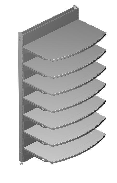 "Modular shop rack systems & instore interior shelving design - System ""upright pitch 25mm"""
