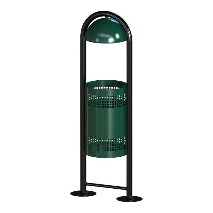 PARK BASKET - OUTDOOR PERFORATED BIN WITH RAIN COVER LUCAS
