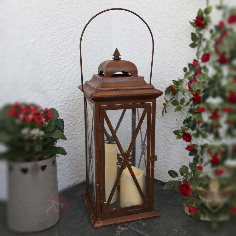 Lanterne couleur rouille-cuivre à 2 bougies LED - Décorations de Noël LED d'extérieur