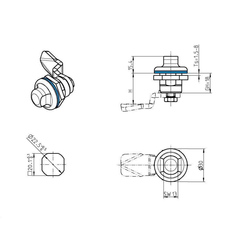 Quart de tour inox (hygiénique) - Serrure 1/4 tour - 1B-835 series
