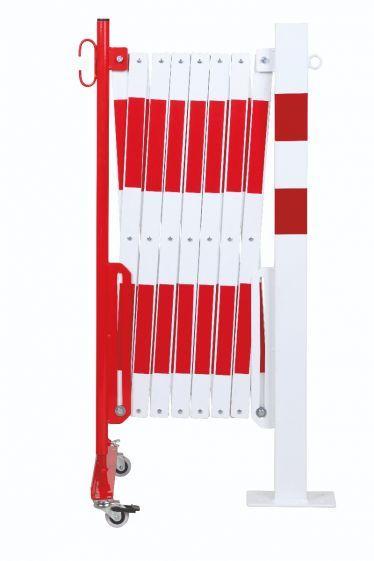 Barrière Extensible Rouge-blanc 4m Avec Poteau 70x70 Et Rouleaux - Barrières De Sécurité