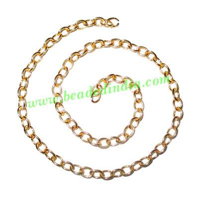 Gold Plated Metal Chain, size: 1x4mm, approx 54.6 meters in  - Gold Plated Metal Chain, size: 1x4mm, approx 54.6 meters in a Kg.