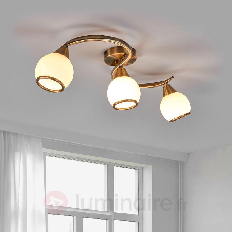 Plafonnier OLIVER laiton ancien à 3 lampes - Plafonniers laiton/dorés