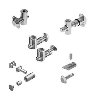 Central connector for aluminium profile mounting - for right-angled connection of two aluminium profiles