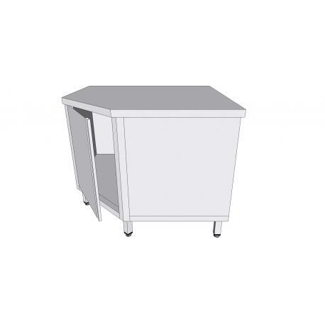 Table armoire de coin à porte battante en inox - Tables-armoires inox avec tiroirs