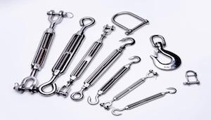 STAINLESS STEEL RIGGING HARDWARE - turnbuckles, anchors,thimbles, wire rope clips