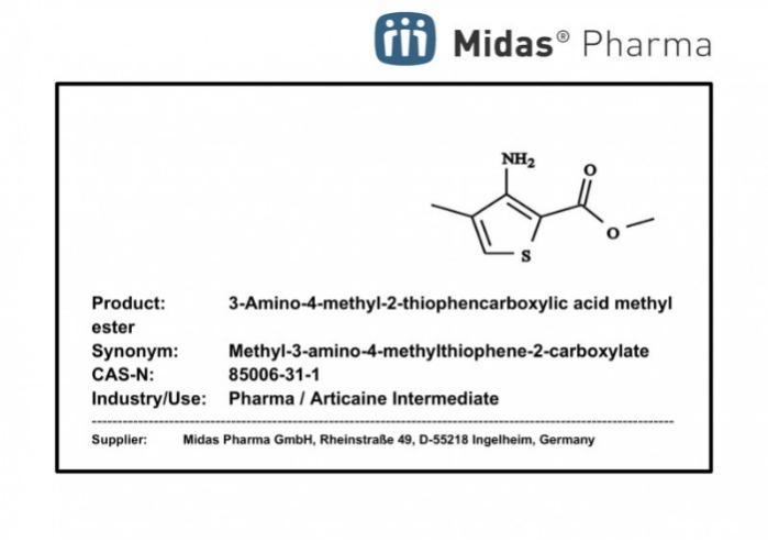 Ester metílico de ácido 3-amino-4-metil-2-tiofenocarboxílico - CAS 85006-31-1; Intermediario de Articaina; Pharma