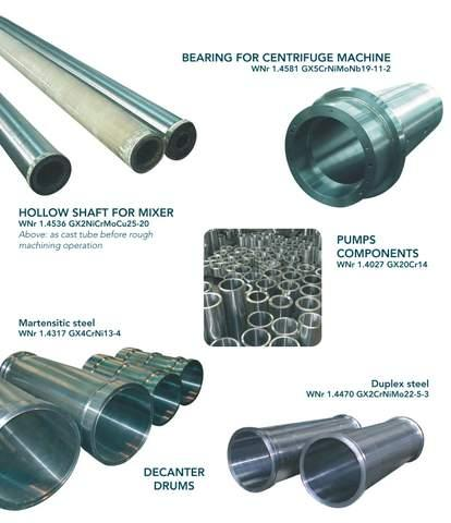 Components for chemical industry - centrifugal castings in stainless steels for decanters, centrifugal machines...