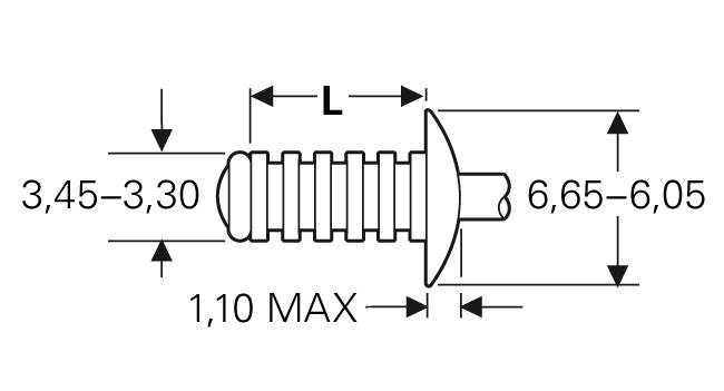 """Blind rivet technology - POP® - """"Grooved"""" - Grooved blind rivets - Domed head"""