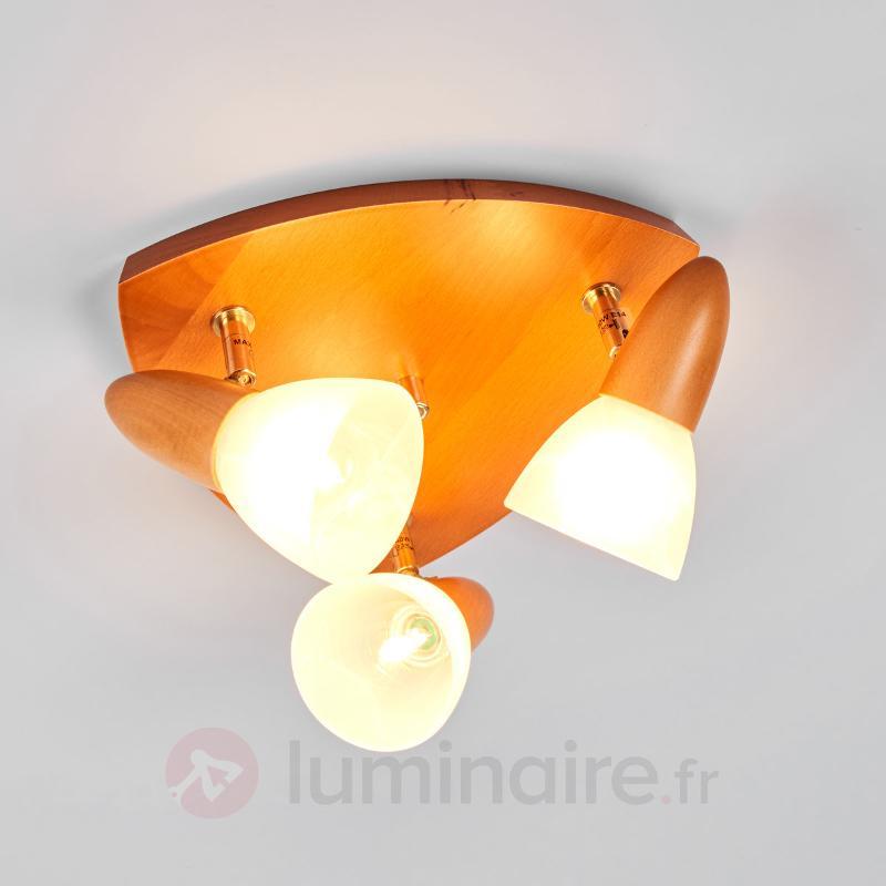 Plafonnier 3 lampes triang. Julia, hêtre cerise - Plafonniers en bois