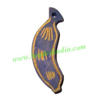 Handmade wooden fancy pendants, size : 49x13x7mm - Handmade wooden fancy pendants, size : 49x13x7mm