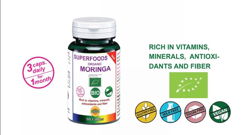 Moringa Bio - Rich in proteins, vitamins, minerals, antioxidants and fiber.
