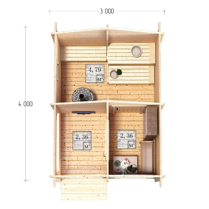 Bathhouse - Bath, sauna 3x4m with a porch