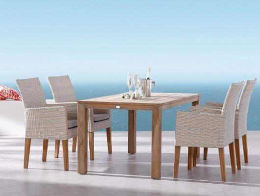 Set de 1 table et 4 fauteuils tresses, bois d'acacia