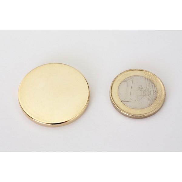 Neodymium disc magnet 30x3mm, N45, Ni-Cu-Ni-Au, Gold plated - Disc