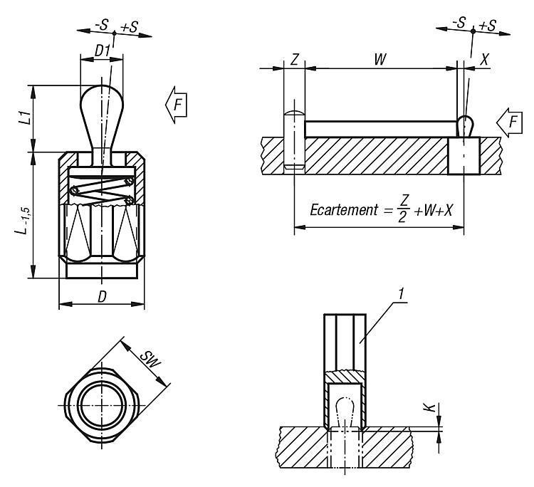 Poussoir latéral à ressort à corps fileté - Poussoirs latéraux à ressort
