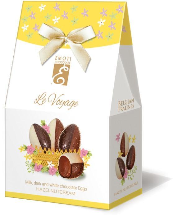 EMOTI Chocolate Eggs Duo with hazelnut filling, 65g (bow dec -