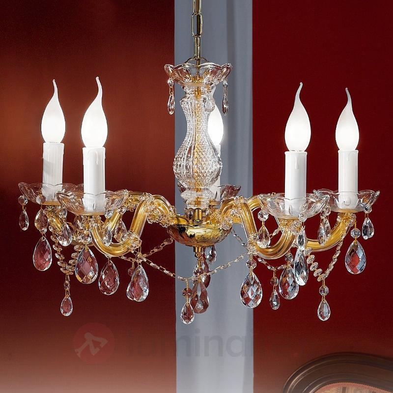 Lustre DOLORES 5 lampes ac pendeloques en cristal - Lustres en cristal