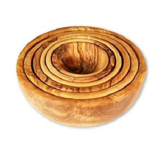 Série de 6 bols en bois d'olivier