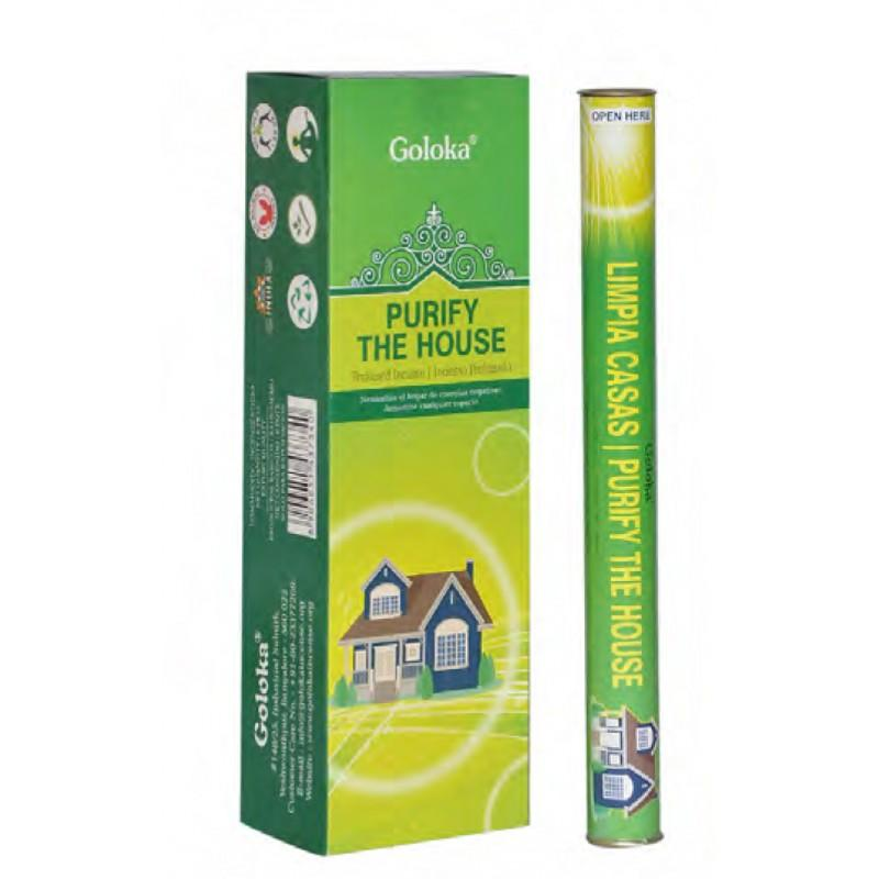 Caja Varas Limpia Casas Goloka (6 Tubos Cilíndricos) - Inciensos y aceites Goloka