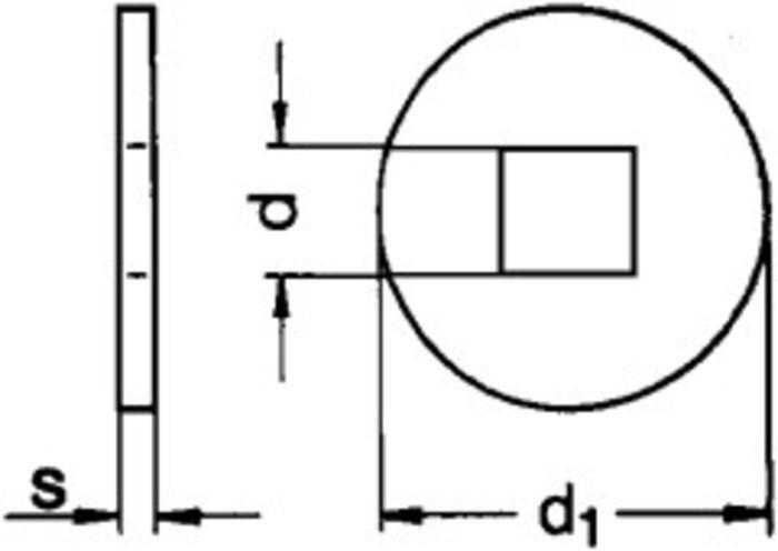 Scheiben für Holzkonstruktionen, Form V (Vierkantloch) - null