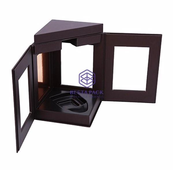 Cassetta del vino - Scatola rigida con chiusura magnetica, 3 finestre, inserto in EVA, vassoio vuoto