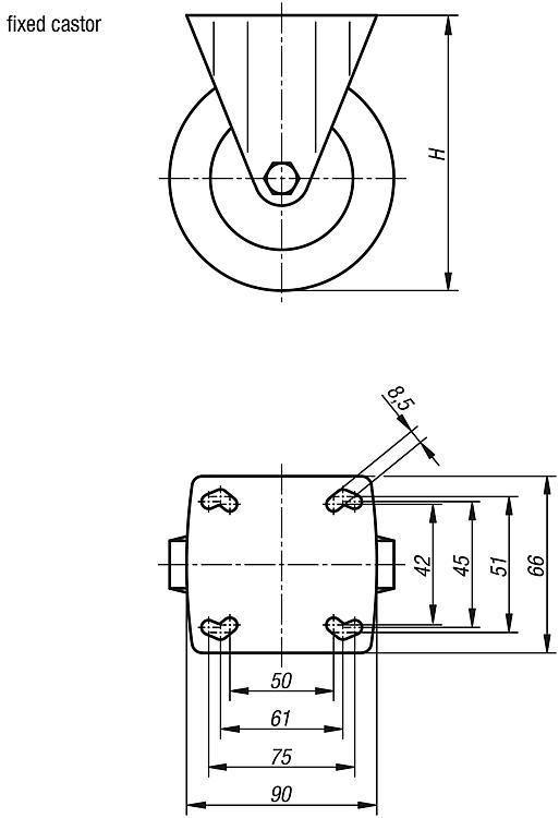 Swivel and fixed castors - Steel plate - Electrically conductive - Wheels and rollers