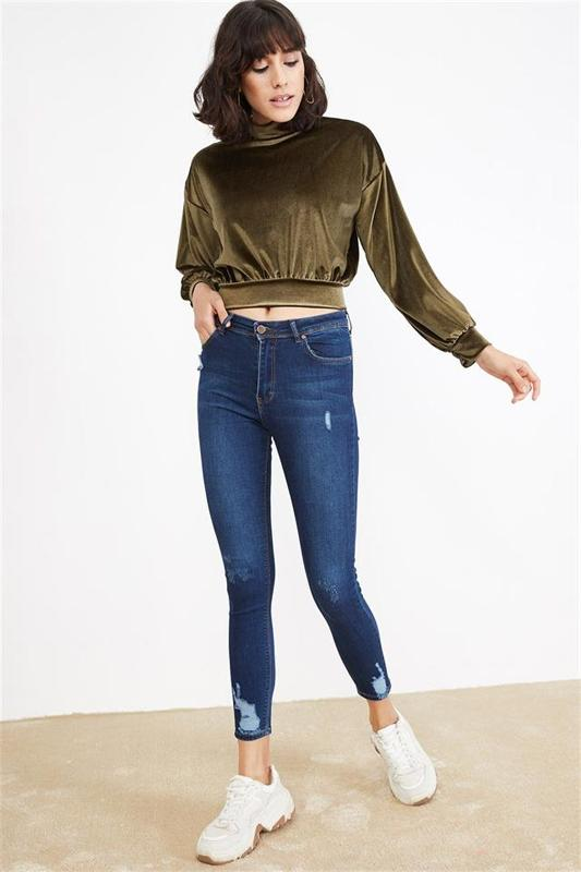 Blue Skinny Jeans Women Aging Effects - Women's Jeans (Jean)