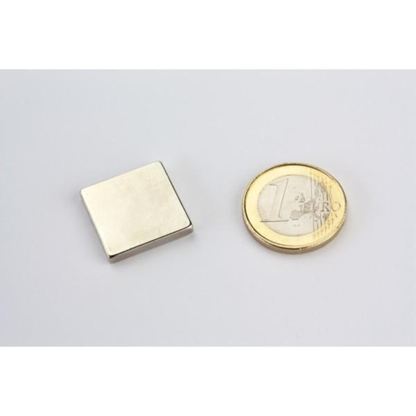 Block magnet, Neodymium, 20x20x3mm, N45, Ni-Cu-Ni,... - null
