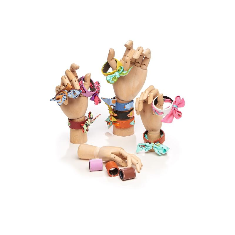 Bracelet Cuir Et Lien En Twill De Soie Imprimé Lyon Estival - Ciel Ecureuil - BRACELETS