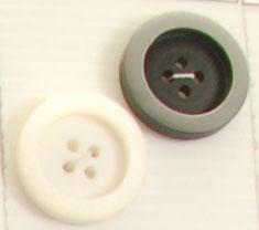 Bouton 4 trous (Plastique - 25 mm - Noir mat cerclé gris ... - Boutons