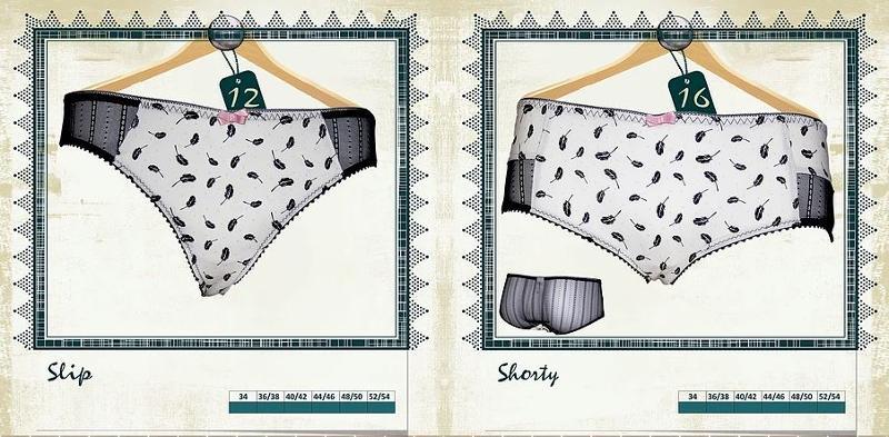Slip et shorty imprimé Plumes - Lingerie pour Femmes