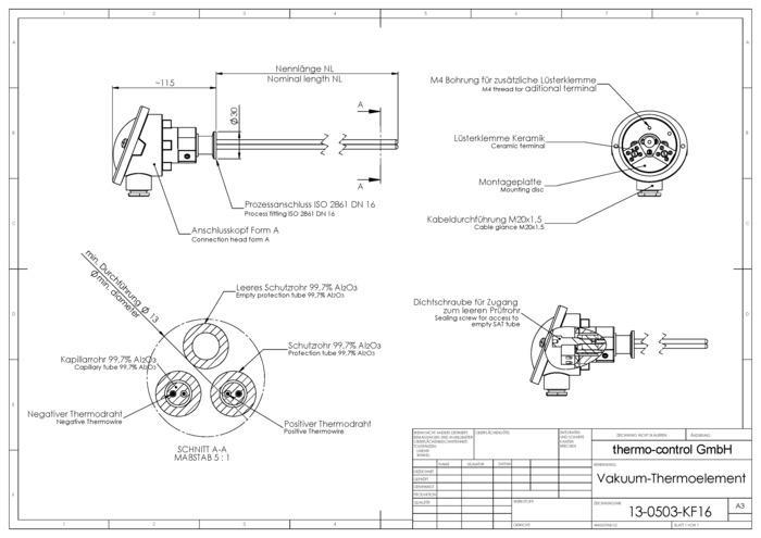 Vakuum-Thermoelement  - mit ISO Kleinflansch