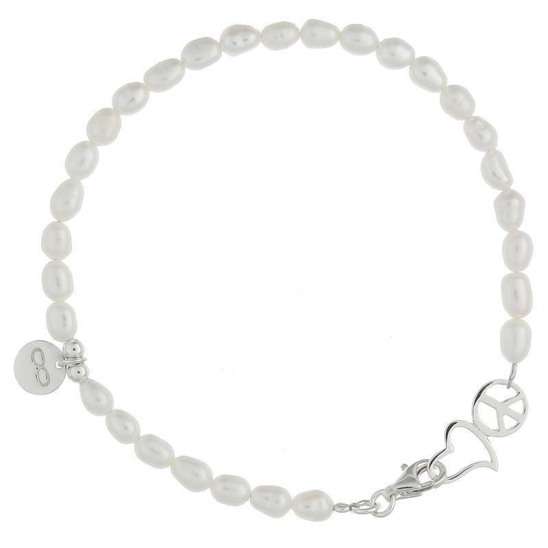 пресноводный же́мчуг брасле́т Мир и любовь серебряный шарм - изде́лие 86653P