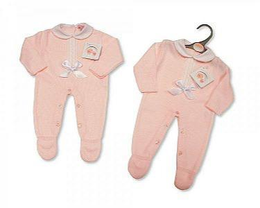 Spanish Style Knitted Baby Girls Romper with Bow and Lace  -