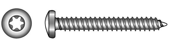 Pan head tapping screws, with TX-six lobe drive - Material A2 | A4