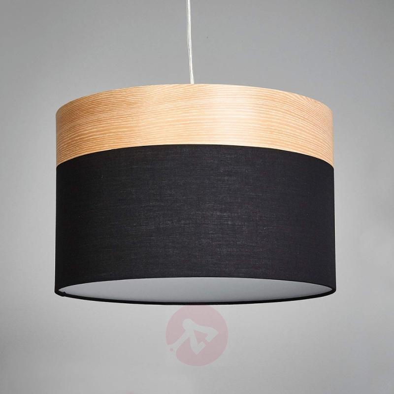 Hanging light Libba, black and wood - indoor-lighting