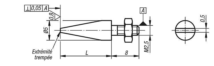 Touche biseautée avec écrou - Eléments pour montage de contrôle