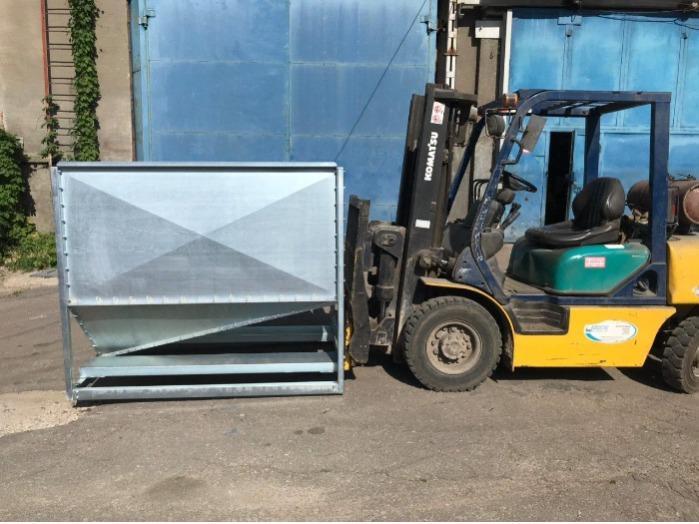 Бункер для зерна оцинкованный для погрузчика, 2 м3 - Galvanized grain bin, stainless steel for mineral fertilizers.