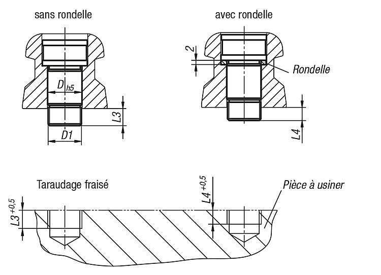Vis CHC rectifiées 5 axes UNI lock pour fixation de... - UNI lock Pas de 80 mm